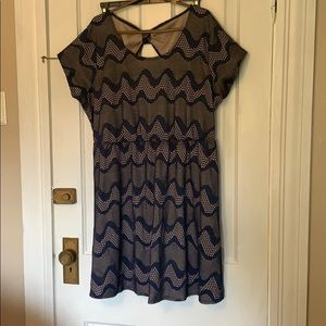 Dresses & Skirts - Navy and nude print dress
